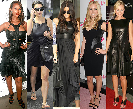 Celebrities-in-black-leather-dresses