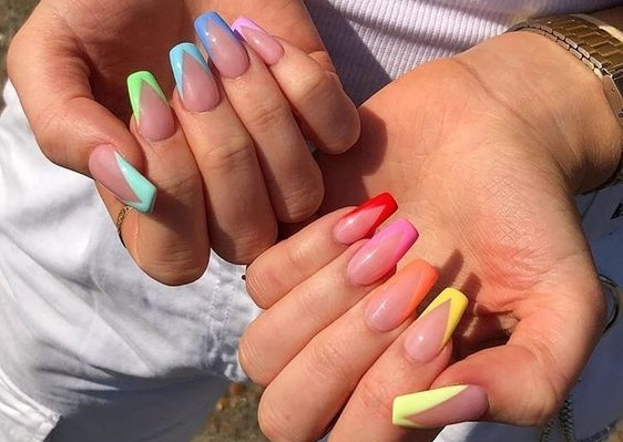 colourful rainbow nails