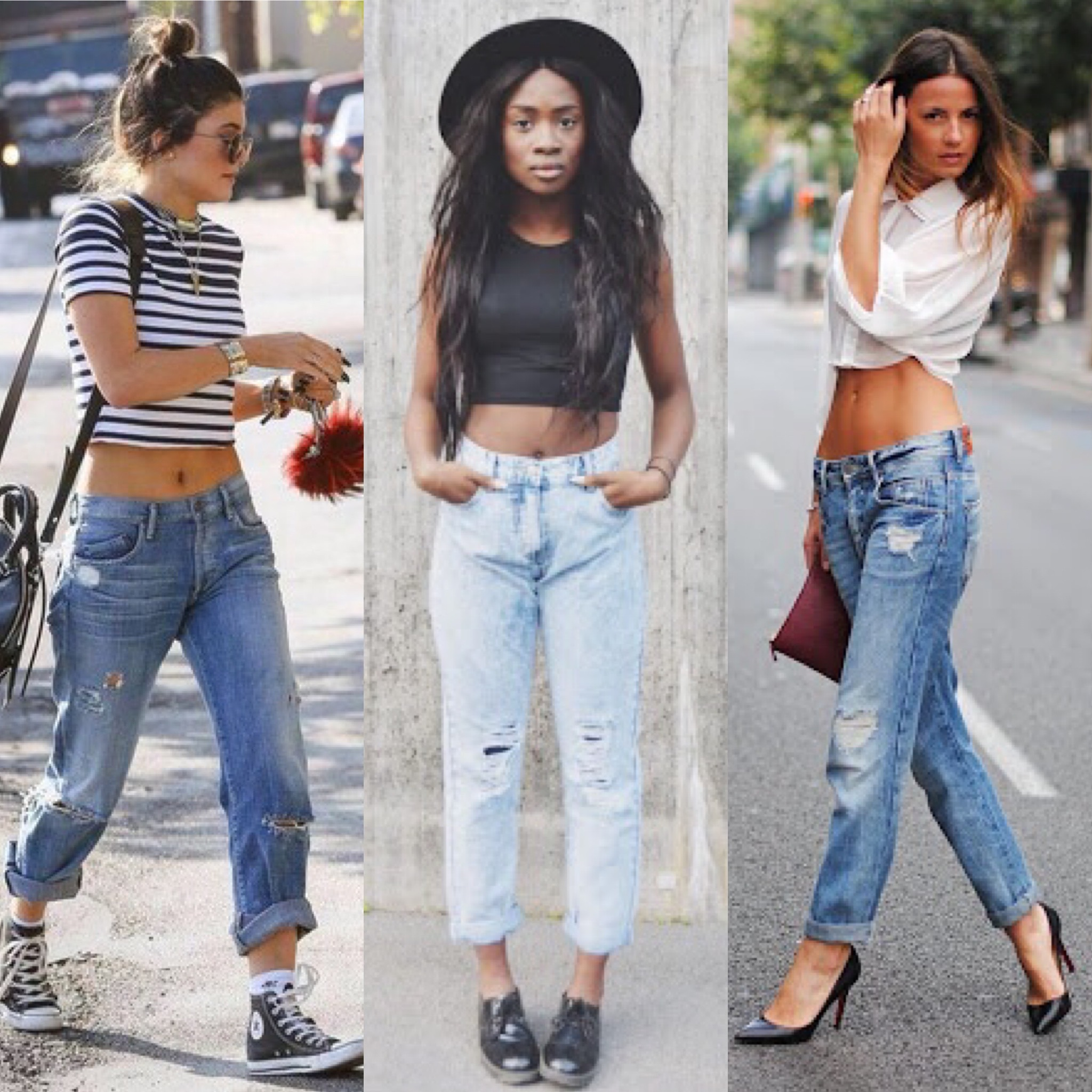 Boyfriend jeans outfit with a crop top